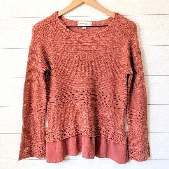 Knox Rose Mauve Pink Layered Sweater S